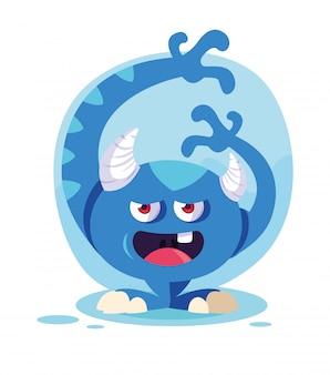 Cartone animato mostro blu