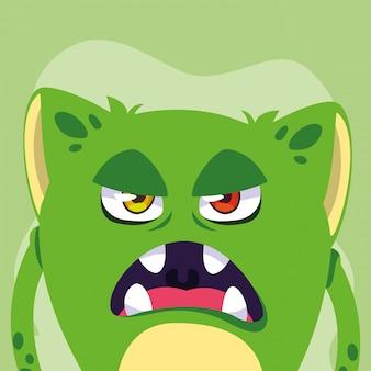 Cartone animato mostro verde