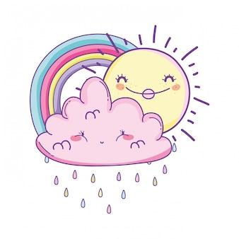 Cartone animato nuvola e arcobaleno