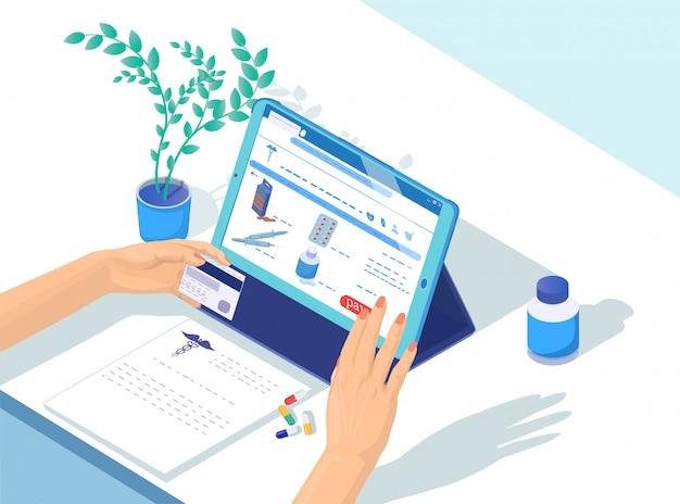 Cartone animato online di farmaci per pagamento e ordine.