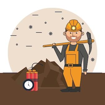 Cartone animato operaio di data mining