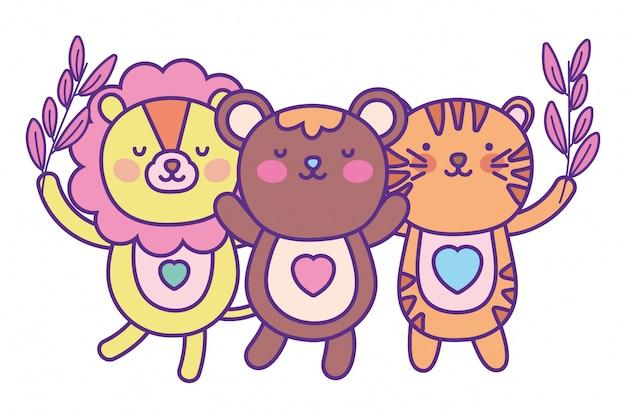 Cartone animato orso leone e tigre