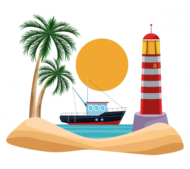 Cartone animato paesaggio marino