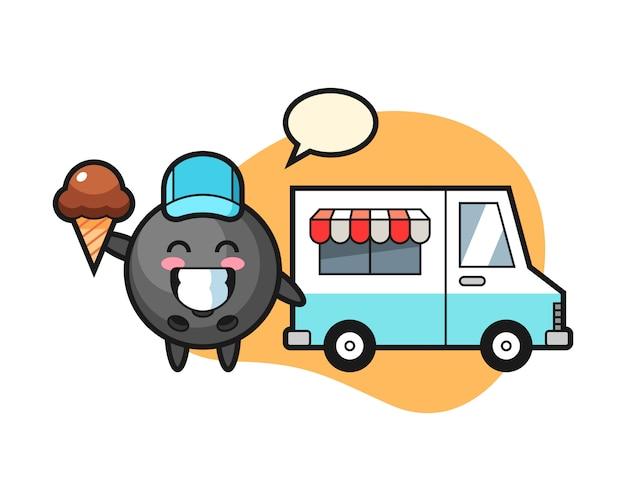Cartone animato palla da bowling con camion di gelati