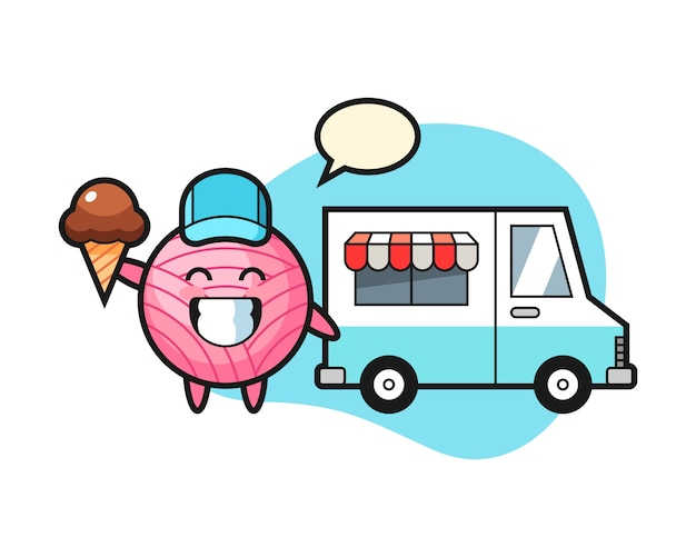 Cartone animato palla di filato con camion di gelati