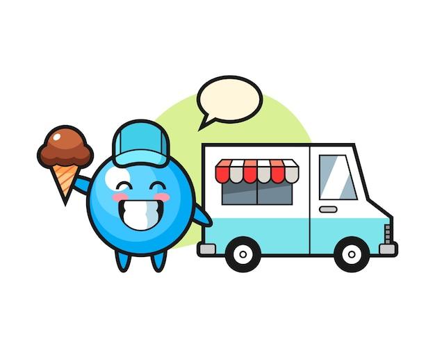 Cartone animato palla di gomma con camion di gelati
