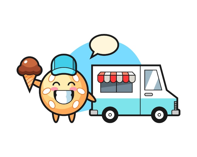 Cartone animato palla di sesamo con camion di gelati