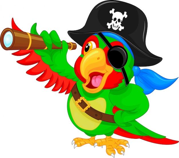 Cartone animato pappagallo pirata