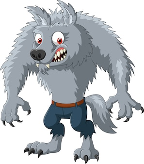 Cartone animato personaggio licantropo arrabbiato