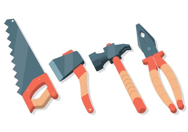 Cartone animato piatto impostato con strumenti di lavoro. sega, ascia, martello, pinze.