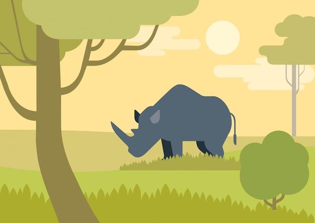 Cartone animato piatto rinoceronte nella savana