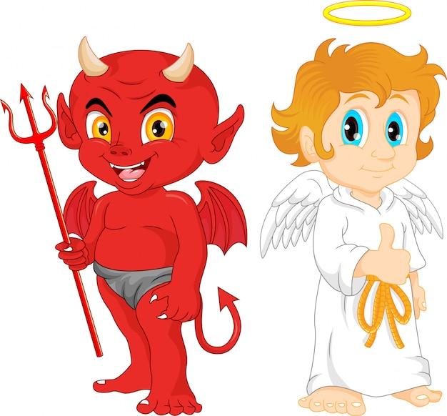 Cartone animato piccolo angelo e diavolo