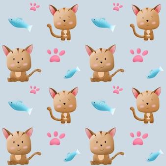 Cartone animato piccolo gatto e pesce modello.
