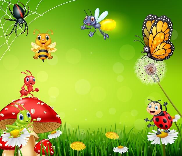 Cartone animato piccolo insetto con lo sfondo della natura