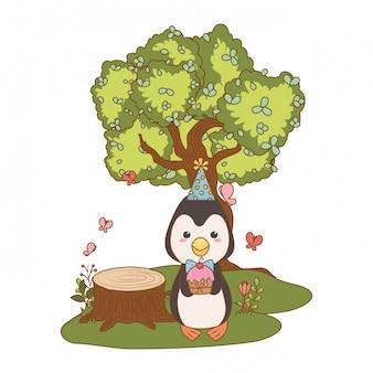 Cartone animato pinguino con buon compleanno