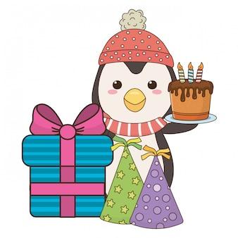 Cartone animato pinguino con icona di buon compleanno