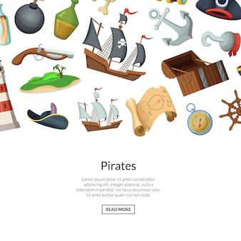 Cartone animato pirati di mare sullo sfondo