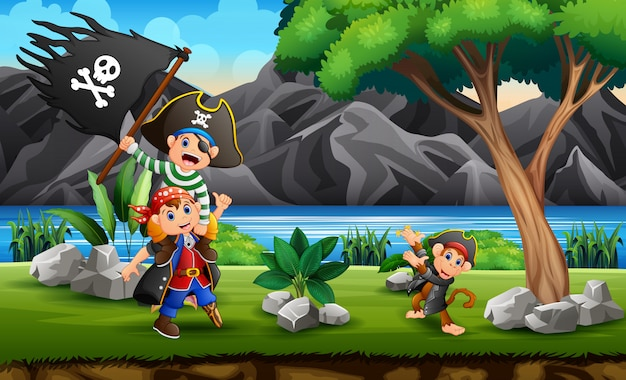 Cartone animato pirati sulla collina