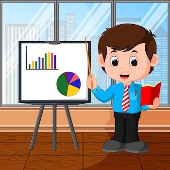Cartone animato presentazione uomo d'affari