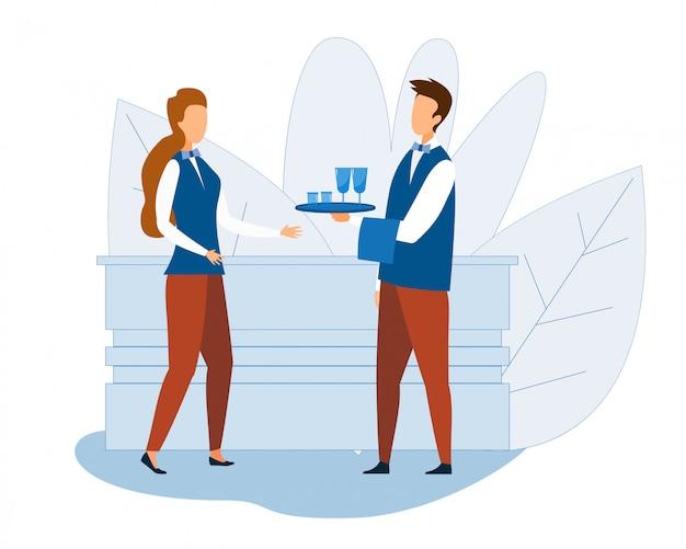 Cartone animato professionale cameriere e cameriera al lavoro