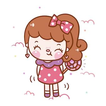 Cartone animato ragazza kawaii con caramelle