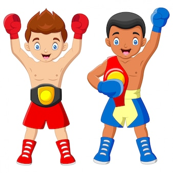 Cartone animato ragazzi del campionato di boxe