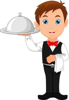 Cartone animato ragazzo cameriera e un set di piatti
