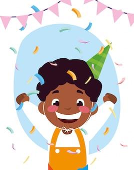 Cartone animato ragazzo con cappello di buon compleanno