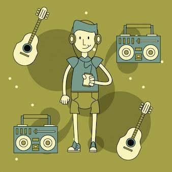 Cartone animato ragazzo cool hipster