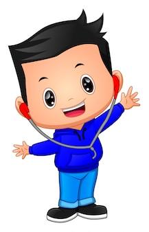 Cartone animato ragazzo felice con auricolare
