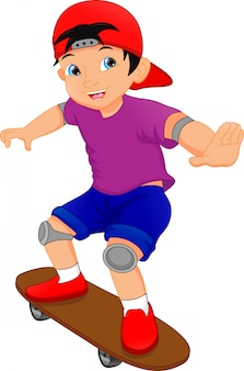 Cartone animato ragazzo giocando a skateboard