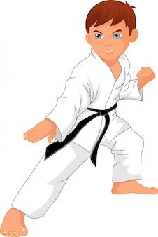 Cartone animato ragazzo karate