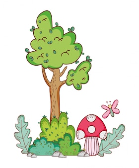 Cartone animato ramo di albero fungo farfalla