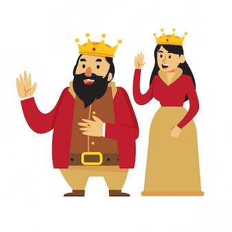 Cartone animato re e regina