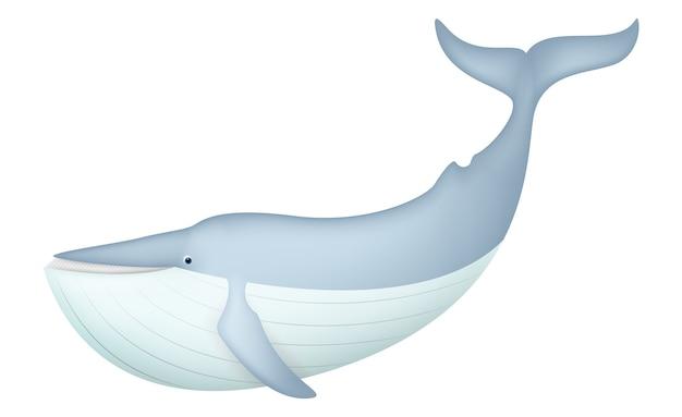 Cartone animato realistico balena blu