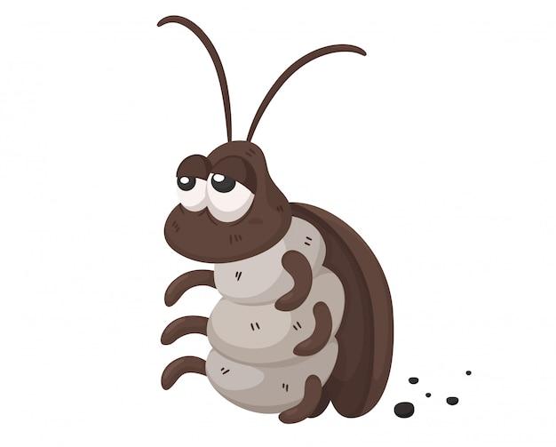 Cartone animato scarafaggio. gli scarafaggi sono portatori di malattie. come essere in un posto sporco.