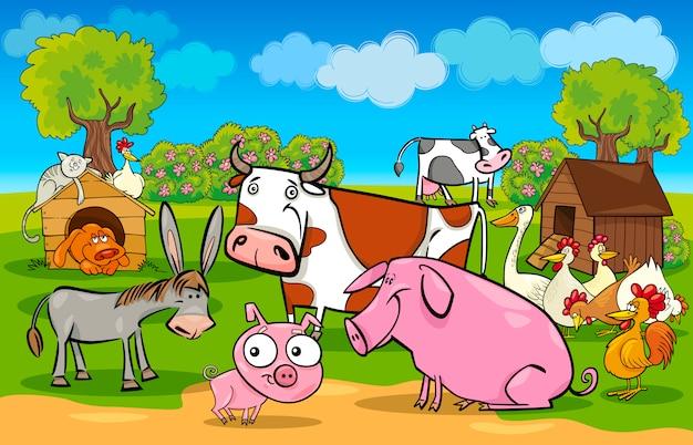 Cartone animato scena rurale con animali da fattoria