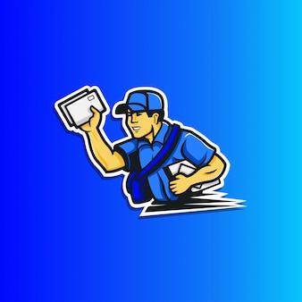 Cartone animato semplice di un postino che consegna autoadesivo della posta