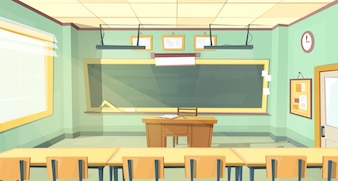Cartone animato sfondo con aula vuota, interno all'interno