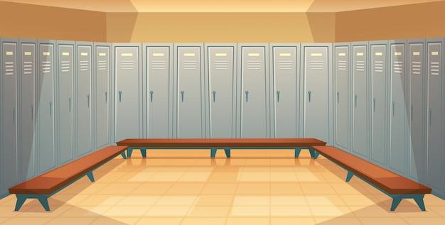 Cartone animato sfondo con file di armadietti individuali, spogliatoio vuoto con metallo chiuso