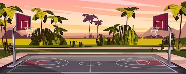 Cartone animato sfondo del campo da basket in strada. arena sportiva all'aperto con cesti per il gioco.
