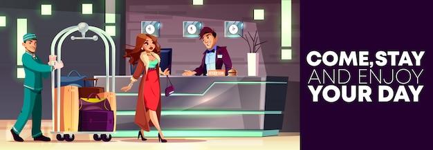 Cartone animato sfondo di accoglienza con ricca signora e fattorino