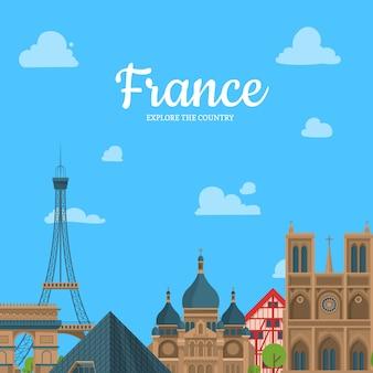 Cartone animato sfondo di francia