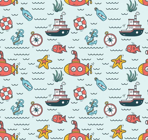 Cartone animato sfondo senza soluzione di continuità nautica