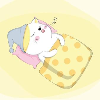 Cartone animato simpatico gatto addormentato personaggio animale schizzo