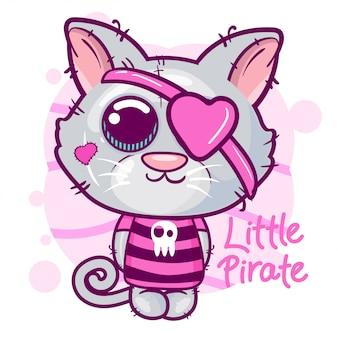 Cartone animato simpatico gatto piccolo pirata.