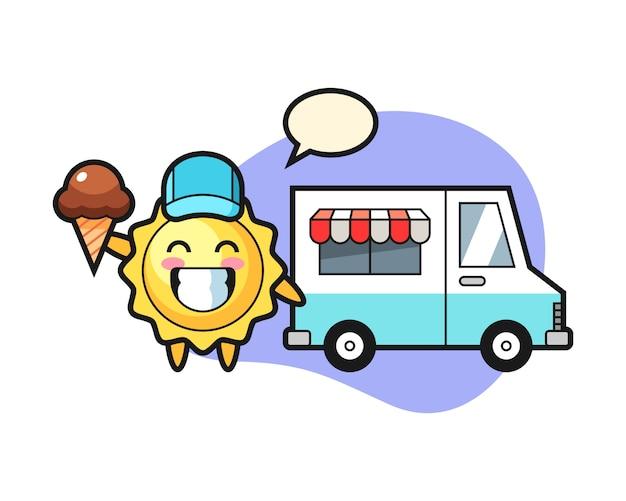 Cartone animato sole con camion di gelati
