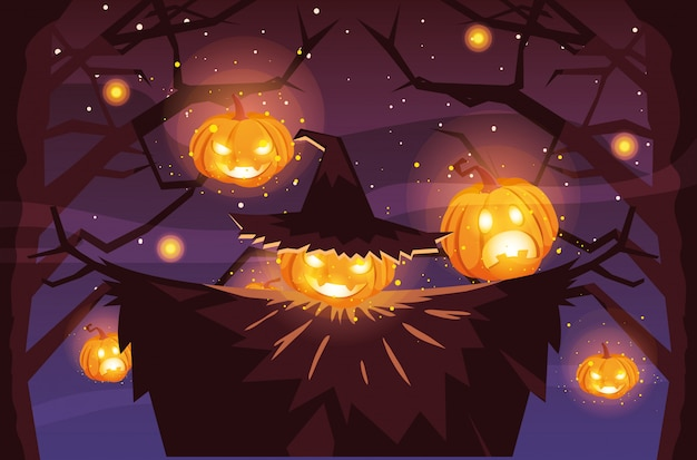 Cartone animato spaventapasseri di halloween