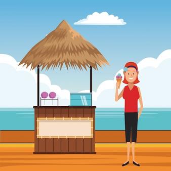 Cartone animato spiaggia estate