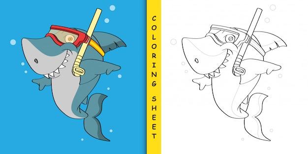 Cartone animato squalo snorkeling, foglio da colorare